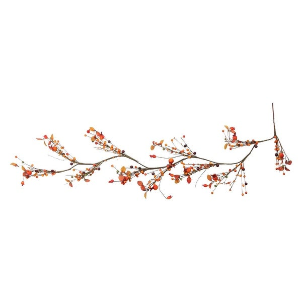 5' Autumn Harvest Artificial Berries and Leaves Rustic Twig Thanksgiving Garland - Unlit - ORANGE