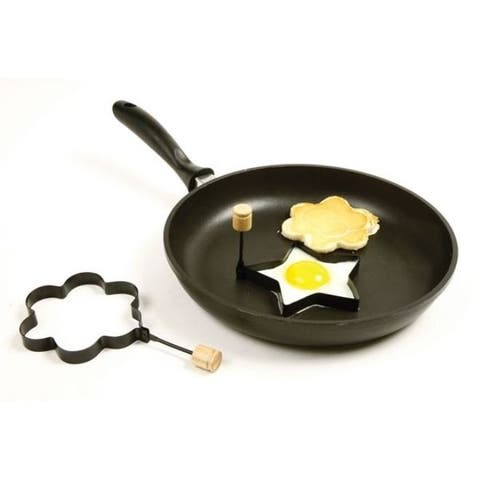 Norpro Non Stick Metal Star and Flower Shaped Pancake / Egg Rings with Handles