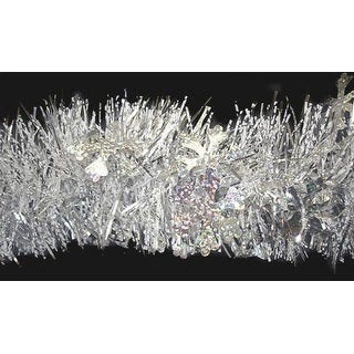 12' Shiny Silver Christmas Tinsel Garland with Holographic Snowflakes - Unlit