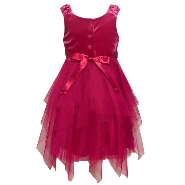 Rare Editions Christmas Dresses.Rare Editions Little Girls Burgundy Cascade Tea Length Christmas Dress