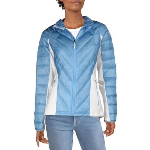 Spyder Womens Syrround Puffer Coat Quilted Down - Blue Ice/White/Blue Ice - M