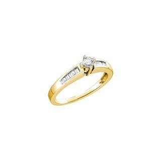 1/3Ctw Diamond Round Center Bridal Engagement Ring 10K Yellow-Gold