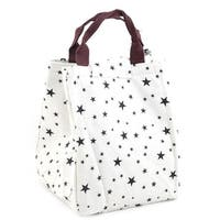 "Cotton Linen Women 7.5"" Length Reusable Lunch Carry Tote Cooler Bag"