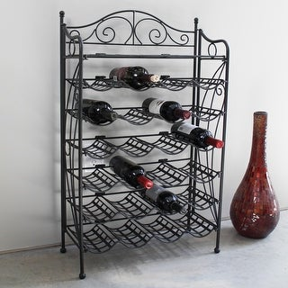 Link to International Caravan Iron 24-bottle Wine Rack with Shelf Similar Items in Kitchen Storage