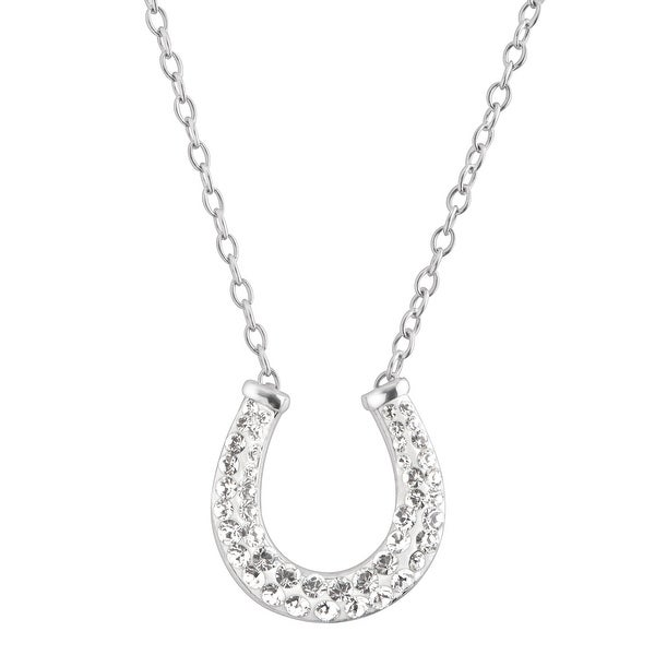 Crystaluxe Horseshoe Necklace with Swarovski Crystals in Sterling Silver