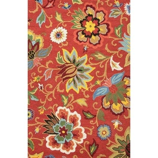 2' x 3' Orange-Red, Canary Yellow and Sky Blue Transitional Zamora Hand Tufted Area Throw Rug