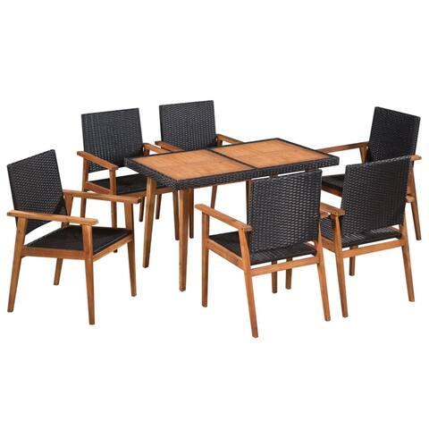 vidaXL Solid Wood Outdoor Dining Set 7 Pieces Poly Rattan Garden Furniture