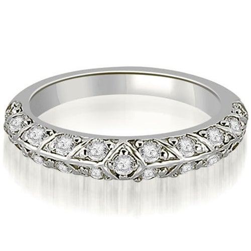 0.63 cttw. 14K White Gold Antique Round Cut Diamond Wedding Band