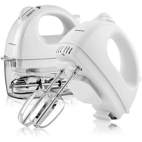 Ovente Portable Electric Hand Mixer 5 Speed Mixing with 2 Chrome Beater Attachments & Snap Clear Case, 150 Watts, White HM161W