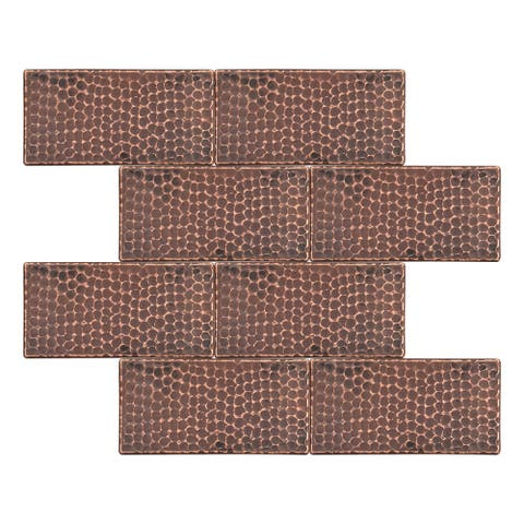 Premier Copper Products T36DBH_PKG8 3-inch x 6-inch Hammered Copper Tile - Quantity 8