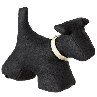 Set of 2 Charcoal Black and Ivory Fabric Scottie Dog Shaped Door Stoppers 11