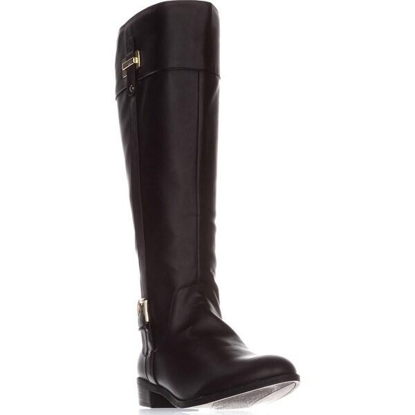 KS35 Deliee Wide-Calf Riding Boots, Dark Brown