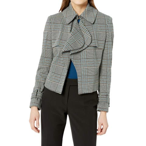 Anne Klein Gray Womens Size 14 Houndstooth Plaid Draped Jacket