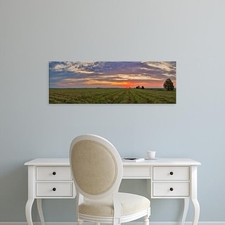 Easy Art Prints Panoramic Image 'Clouds over landscape, Prairie Ridge State Natural Area, Marion, Illinois' Canvas Art