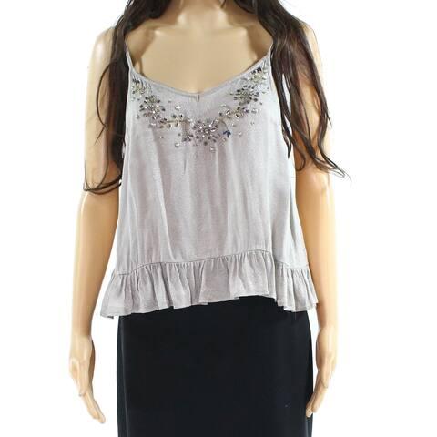 Angie Women's Large Embellished V-Neck Ruffle Top