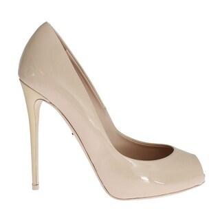 Dolce & Gabbana Beige Patent Leather Open Toe Pumps - 41