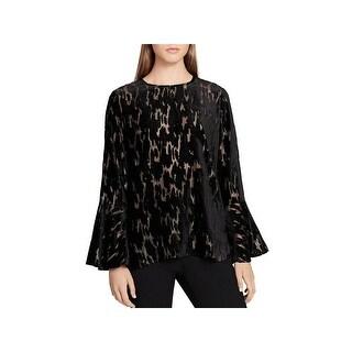 Calvin Klein Womens Dress Top Metallic Bell Sleeves