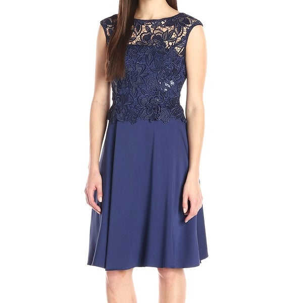 900b17a4 Shop Adrianna Papell NEW Blue Navy lace Embroidered 4 Sequin Sheath ...