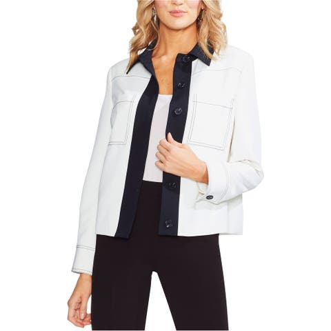 Vince Camuto Womens Colorblocked Jacket, Off-white, 10