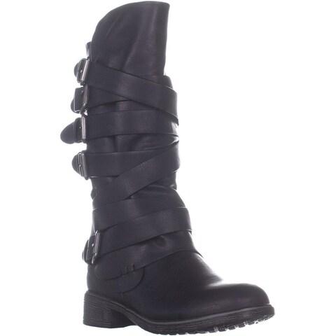Report Huck Mid-Calf Flat Boots, Black