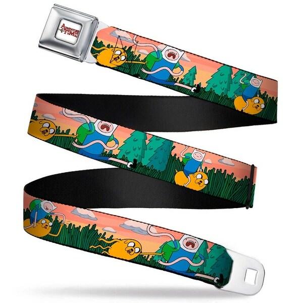 Adventure Time Logo White Full Color Finn & Jake Adventure In The Woods Seatbelt Belt
