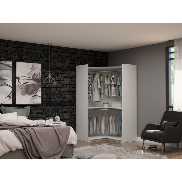 Mulberry Modern Open Corner Closet with 2 Hanging Rods. Opens flyout.