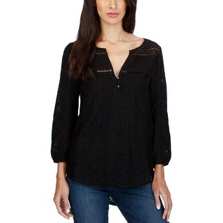 Lucky Brand Womens Peasant Top Lace Crochet