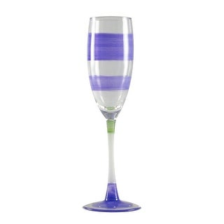 Set of 2 Purple Retro Stripe Hand Painted Champagne Drinking Glasses - 5.75 Oz.