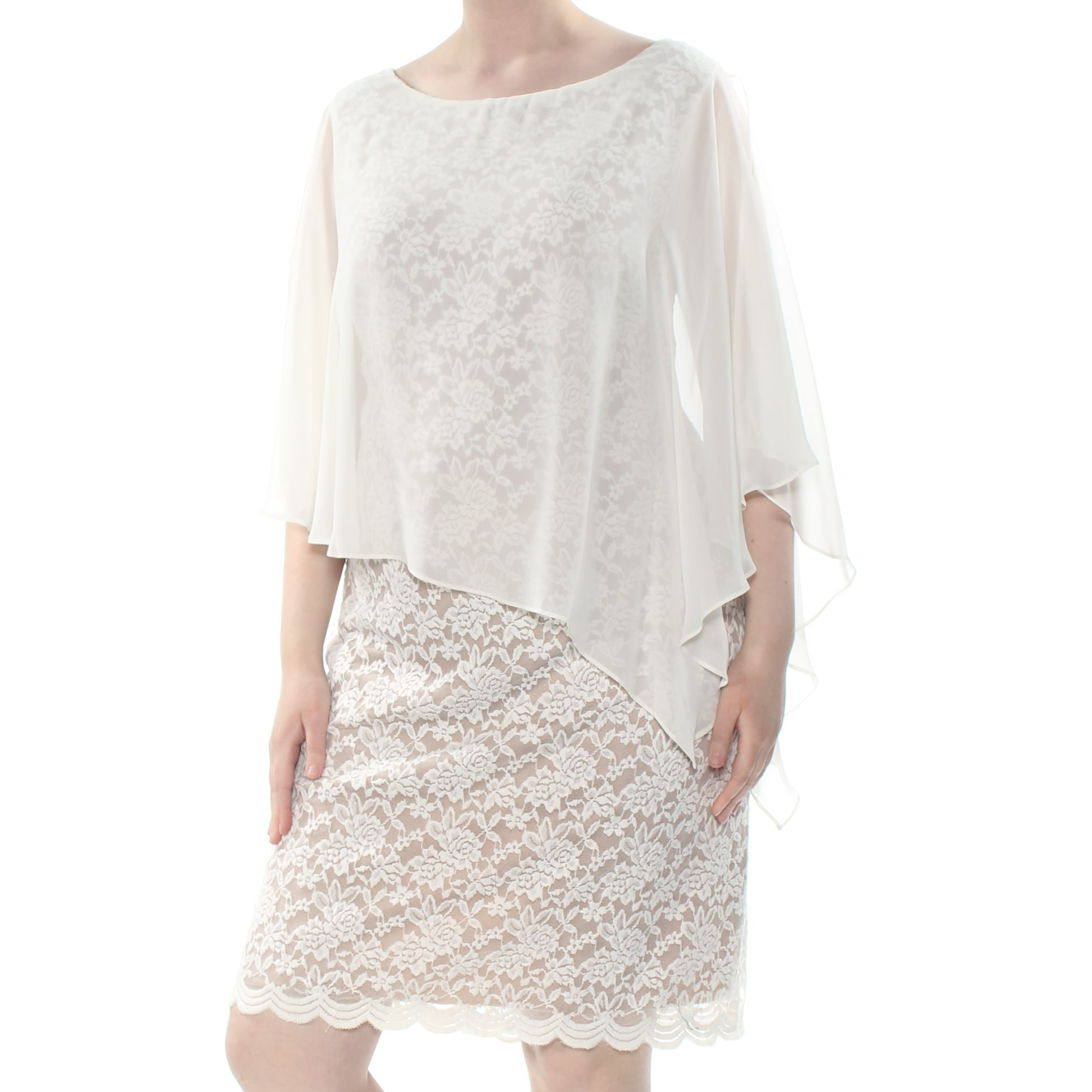 CONNECTED Womens Ivory Embroidered Chiffon Cape Overlay Scallop Tri Floral  Knee Length Shift Formal Dress Plus Size: 22W
