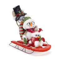 """Set of 2 White and Red Plush Snowman Family on Sled Christmas Tabletop Figure 15"""""""