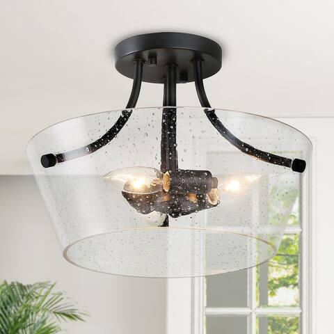 """Modern Semi Flush Mount 3-lights Beaded Glass Ceiling Lighting - D13""""x H10"""""""