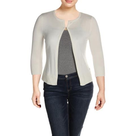 Basler Womens Cardigan Sweater Ribbed Trim Knit - Ivory