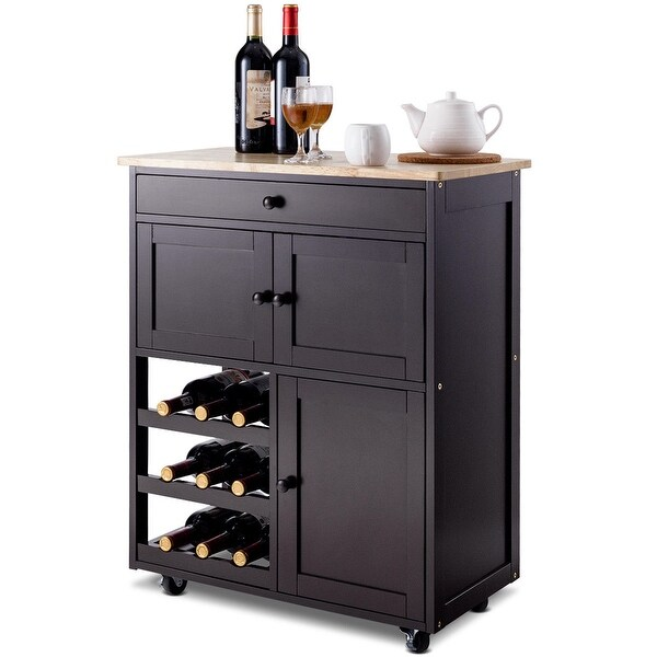 Kitchen Cart With Cabinet: Shop Gymax Modern Rolling Kitchen Cart Trolley Island