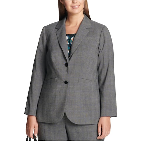 Calvin Klein Womens Plaid Two Button Blazer Jacket, Grey, 18W