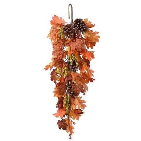 Harvest Maple Leaf 35-inch Teardrop Garland