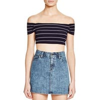 Cotton Candy Womens Crop Top Off-The-Shoulder Striped