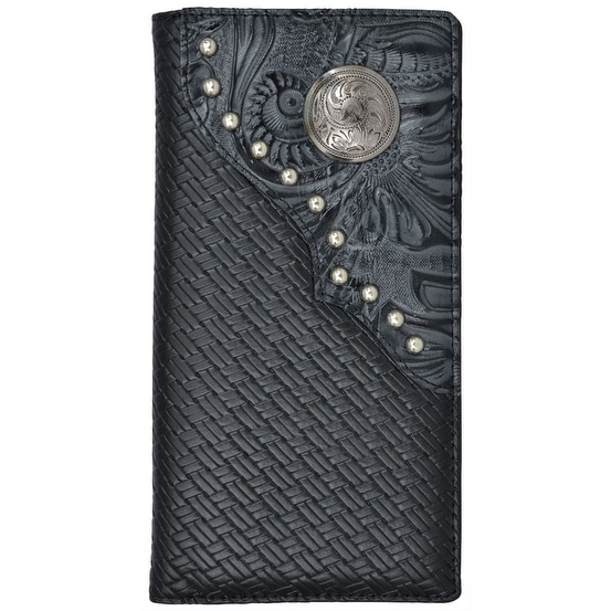 "3D Western Wallet Mens Rodeo Classics Floral Overlay Black - 7 1/8"" x 3 3/4"""