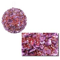 "Lavish Lilac Fully Sequined & Beaded Christmas Ball Ornament 3.5"" (90mm) - PURPLE"