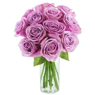 KaBloom - Farm-Fresh Rose Collection - 12 Purple Roses with Vase