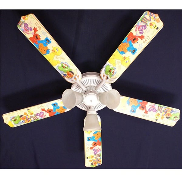 Sesame Street Character Nursery Print Blades 52in Ceiling Fan Light Kit - Multi