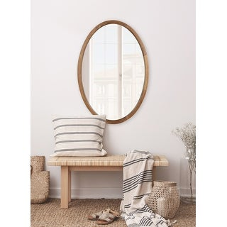 Kate and Laurel Hogan Oval Framed Wall Mirror - Rustic Brown - 24x36
