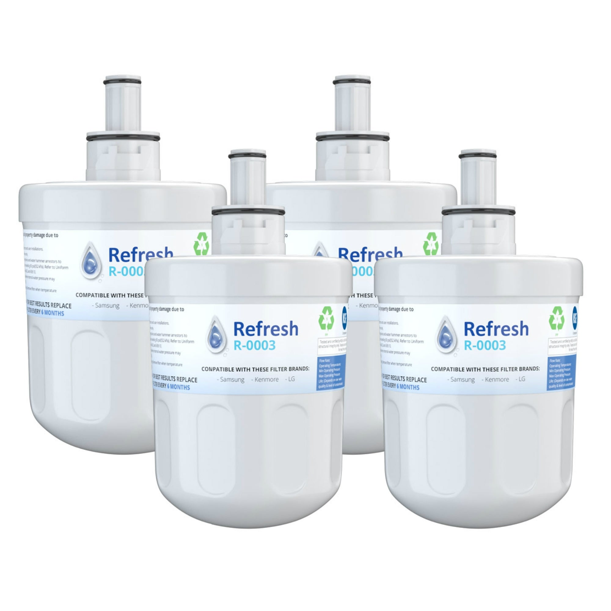 Refresh Water Filter Fits Samsung Waterfall WFC2201 Refrigerators 6 Pack