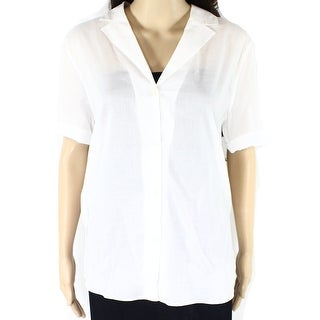 Theory NEW White Womens Size Large L Notch-Collar Button Down Shirt