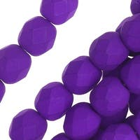 Czech Fire Polished Glass, 6mm Faceted Round Beads, 25 Piece Strand, Dark Neon Purple