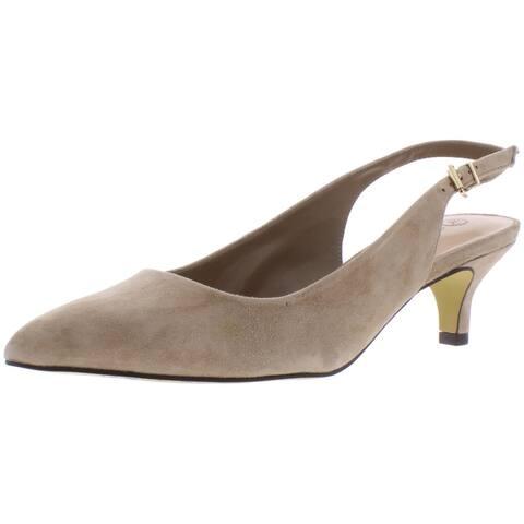 Bella Vita Womens Scarlett Slingback Heels Suede Solid - Almond - 9 Extra Wide (E+, WW)