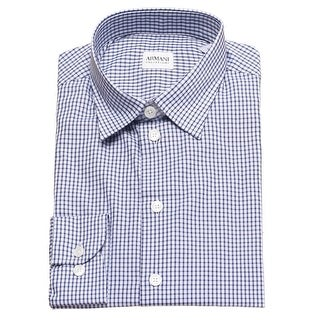 Armani Collezioni Men Slim Fit Cotton Dress Shirt Navy Light Blue