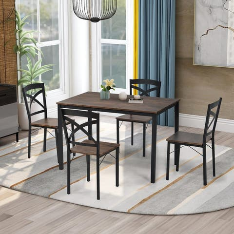 5-Piece Industrial Wooden Dining Set with Metal Frame and 4 Ergonomic Chairs Brown