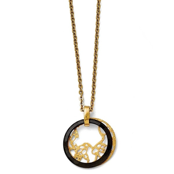 Chisel Stainless Steel/Ceramic Polished/Laser Cut Yellow IP-plated Necklace - 20.5 in