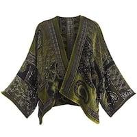 Women's Peridot Paisley Velvet Cropped Jacket - Open Front Paisley Print