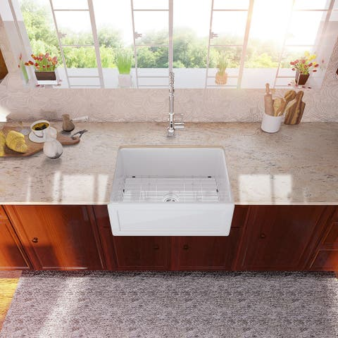 Lordear 24 Inch Fireclay Farmhouse Kitchen Sink Single Bowl Sink